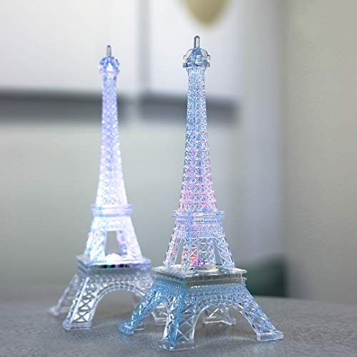 (9 Inch Light Up Acrylic LED Eiffel Tower Souvenir w/ Build in Multicolor LED Lights. Battery Included | Centerpiece)