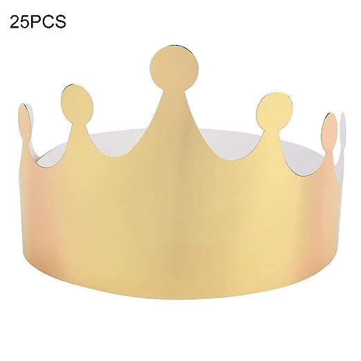 Wifehelper 25 Piezas de Papel Corona Cumpleaños Sombrero ...