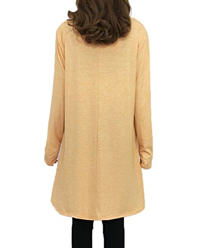 Light Long Orange Loose JadeRich Hem Sleeve Crewneck Women's Dress Chiffon Solid Hq6gz1pw