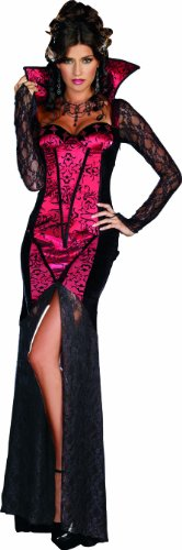 Deluxe Gothic Mistress Sexy Costumes (Dreamgirl Women's Just One Bite Dress, Black/Red, Small)