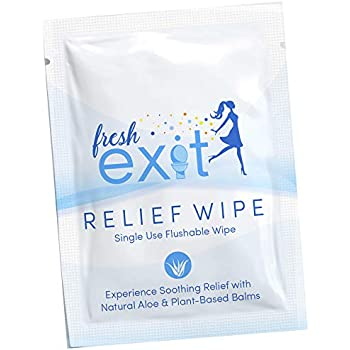 FreshExit - 30 Individually Wrapped Hemorrhoid Treatment Wipes - Flushable Wipes for Adults - Witch Hazel Wipes with Aloe