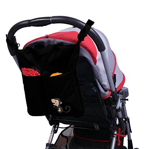 Missfly Kinderwagen Organizer Einkaufstasche Baby Aufbewahrungstasche, Schwarz