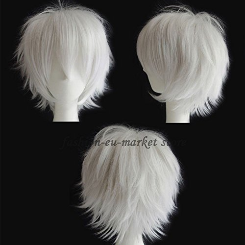 Gokudera Cosplay Costume (Synthetic Short Straight Fluffy Full Wig Oblique Fringe for Anime Cosplay Costume Party for Men / Women Procellarum (White))
