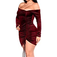 GOBLES Womens Velvet Bodycon Ruched Sexy Off Shoulder Bodycon Mini Club Dress