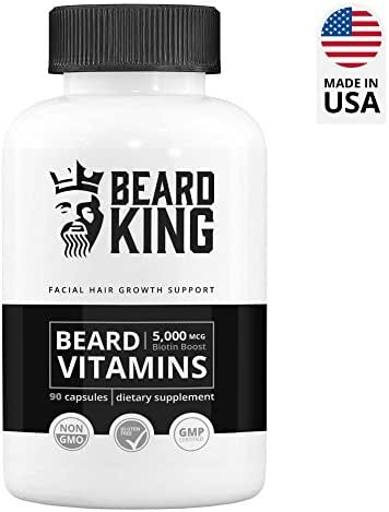 Beard King - Beard Vitamins | Best Facial Hair Growth Supplement - for Thicker, Fuller, Healthy Beard | with Biotin Boost, Vegan, Non-GMO Facial Hair Growth Pills for Men - 90 Capsules