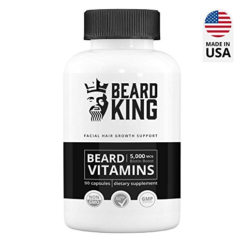 Pills Growth (Beard King - Beard Vitamins | Best Facial Hair Growth Supplement - for Thicker, Fuller, Healthy Beard | with Biotin Boost, Vegan, Non-GMO Facial Hair Growth Pills for Men - 90 Capsules)