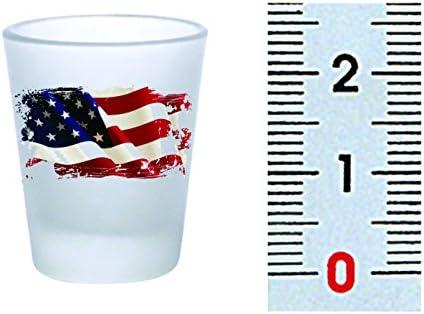 Shot Glass Frosted American Flag Vintage 2oz