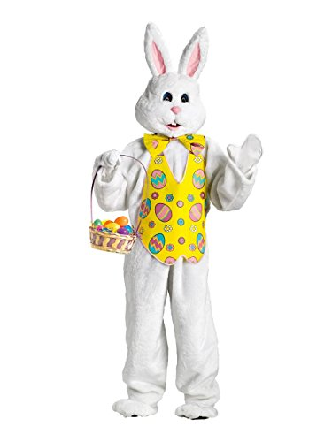 FunWorld Bunny Deluxe Adult Costume White with Blue Easter Vest and Mascot Head, Large