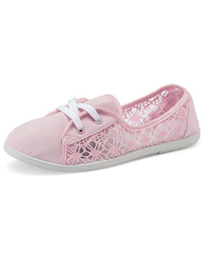 Cotton Traders Womens Ladies Lace Slip-on Shoes Pink XwriexA
