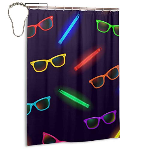 SITU Neon Sunglasses and Glow Sticks Shower Curtain Polyester Fabric Curtain with Iron Hooks Waterproof Bathroom Decor,55 X 72 Inch -