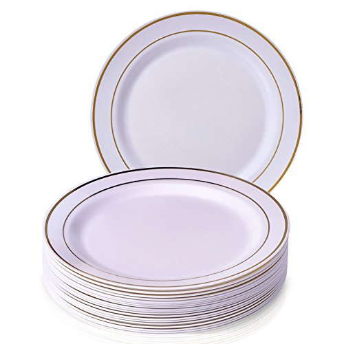 Silver Spoons 1843-SiS Plate Party Disposable 20 Piece Dinnerware Set, White Gold
