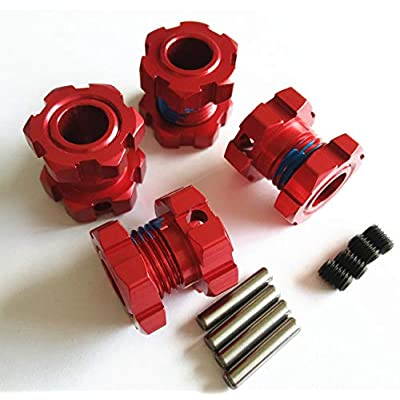 Aluminum Splined 17mm Wheel Hubs Hex Adaptar -4pcs Red for Traxxas 1/10 E REVO 2.0 VXL 8654 7758: Toys & Games