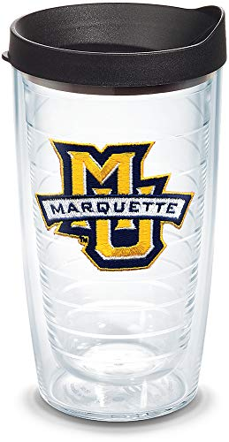 Tervis 1060839 Marquette Golden Eagles Logo Tumbler with Emblem and Black Lid 16oz, Clear