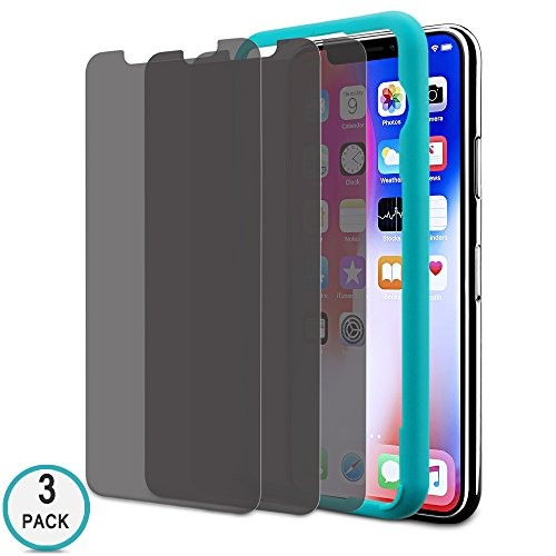 iPhone X Privacy Screen Protector, Tempered Glass Screen Protector for Apple iPhone, 3D-Touch Compatible, 9H Hardness HD Clear Anti-Glare/Spy/Scratch/Fingerprint/Bubble, Easy Install (3 Pack)