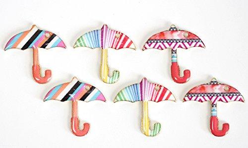 【アジアン】5個 傘 カラーチャーム 全3種 エポ付き マットゴールドの商品画像