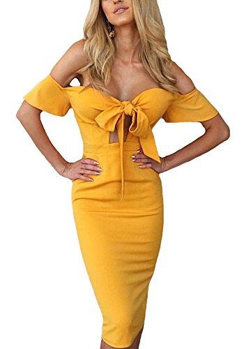 PRETTODAY Women's Off Shoulder Dress Summer Sexy Bell Sleeve Front