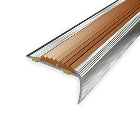 Stair Nosing Profile ALUMINIUM With Brown Rubber | 90cm 40x20mm | Aluminium  Profiles For Stairs