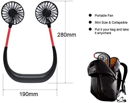 Control Future Neck Hanging Fan  Hand Free Portable Neck Sports Fans USB Rechargeable Personal