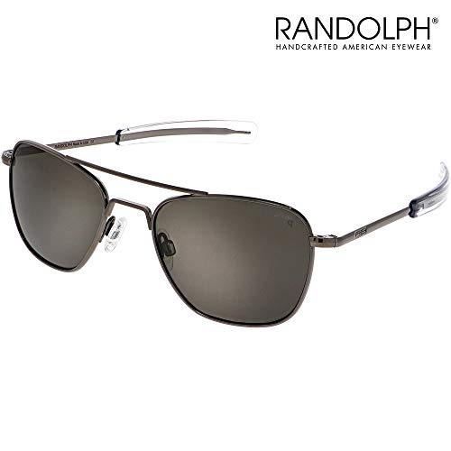 Aviator Sunglasses for Men or Women - Randolph Engineering Sunglasses - Guaranteed for Life, Built to Military Specifications. Authentic Pilot Aviators. Made in USA. Gun Metal American Gray P, ()