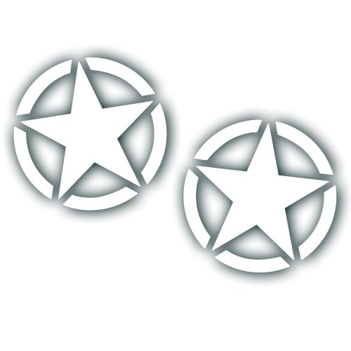 Solar Graphics USA Military Invasion Star Decal - 4 Inch - Restore Or Custom any Army Willys, Truck Or Jeep CJ Wrangler In White Gloss