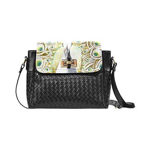 Fashion Women And Girls Beautiful Painting Peacock Feather Woven Leather Crossbody Bag/shoulder Bag/tote Bag For Women Girls Cr-43 Unique Debora