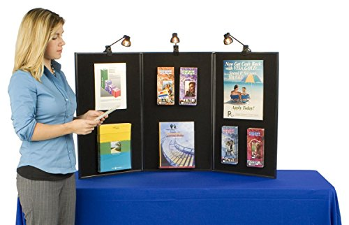 Tri-Fold And Double-Sided Exhibition Black Display Board, 54 x 30 x 3/4-Inch, Includes 3 Halogen Spotlights by Displays2go