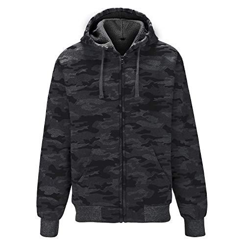 GEEK LIGHTING Camo Jacket for Men,Full-Zip Hooded Sweatshirts(Dark Gray, Medium)