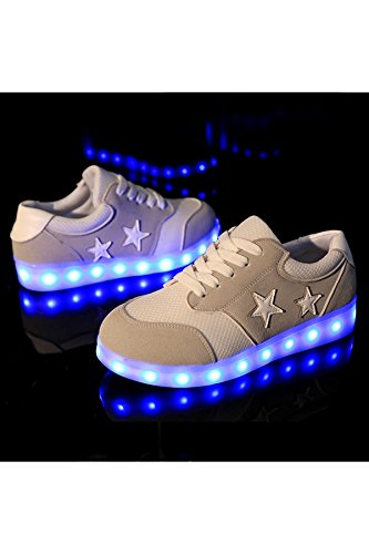 Azbro Mujer 8 Colores LED Zapatillas Zapatos Deportivas Recargable USB Negro