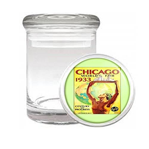 """Medical Glass Stash Jar World's Fair Chicago S7 Vintage Poster Air Tight Lid 3"""" x 2"""" Small Storage Herbs & Spices"""