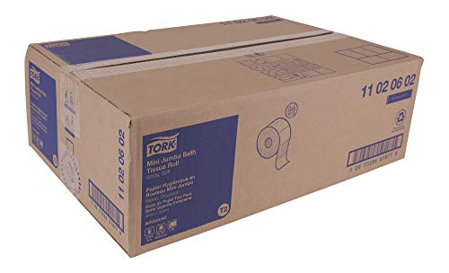 Tork Advanced 11020602 Soft Mini Jumbo Bath Tissue Roll, Perforated, 2-Ply, 7.36'' Diameter, 3.55'' Width x 8.38'' Length, White (Case of 12 Rolls, 1,075 per Roll, 12,900 Sheets) by Tork (Image #9)