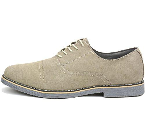 alpine swiss Aston Mens Lace Up Oxfords Genuine Suede Cap Toe Formal Dress Shoes Beige 21PRR7qW