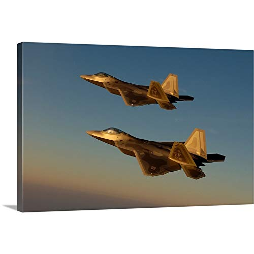 Stocktrek Images Solid-Faced Canvas Print Wall Art Print Entitled F22A Raptors Fly Over Langley Air Force Base Virginia - Langley Air Base Force