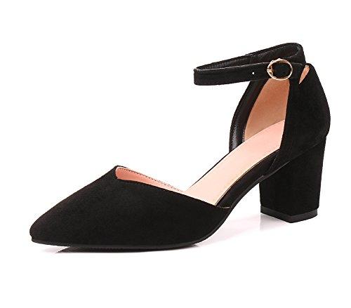 Aisun Damen Pumps Spitze Knöchelriemchen Blockabsatz Zehen Schwarz Kontrastfarbe Sandale wz4aqwT