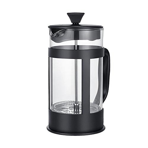 Plemo French Coffee Press Tea Press, Heat-Resistant Glass Beaker with Plastic Frame, 1 Liter