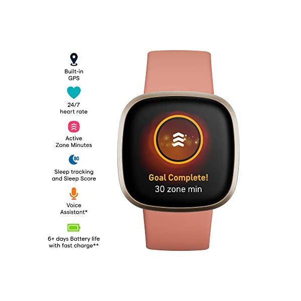 Fitbit Versa 3 Health & Fitness Smartwatch with GPS, 24/7 Heart Rate, Alexa Built-in, 6+ Days Battery, Pink/Gold, One… 2