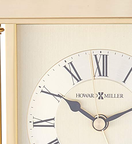 Howard Miller 645-584 Audra Table Clock - TABLE CLOCK: The Audra Table Clock has a brushed and polished brass finish with a decorative handle, turned brass button feet, and columns to compliment your home decor. The clock's quartz movement makes a soft ticking noise without the use of chimes for a quieter environment. DURABLE: This indoor carriage clock is created to last. It has a sturdy metal frame to relieve stress in a busy household. Place it in your kitchen, office, bathroom, bedroom, living room, and more. HIGH QUALITY: The enduring design shows traditional Roman numerals, with IIII instead of IV, to become a home essential. Easily tell time with circular, diamond-cut numeral ring, black hands, brass second and alarm hands, and glass crystal to stand out over the brass-tone dial. - clocks, bedroom-decor, bedroom - 41yPZ4LxXIL -