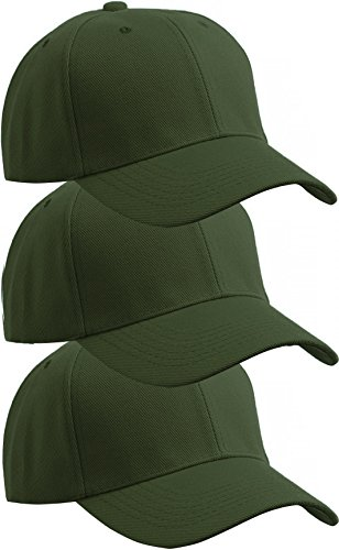 American Cities Unisex Classic Blank Structured Baseball Hat Cap Adjustable Velcro - 3 Pack (Hats For Wholesale)