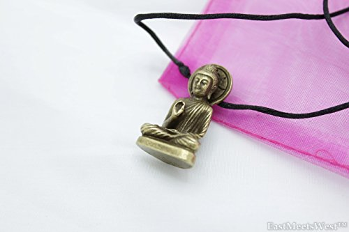 - Vintage Bronze Seated Buddha Shakyamuni Statue | Amitabha Pendant Protection Necklace