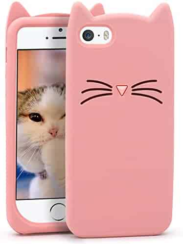 6d69f9f5470d11 Megantree Cute iphone 5 case, iphone 5s case, Funny 3D Cartoon Animal Pink  Whisker