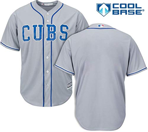 (Outerstuff Chicago Cubs Blank Gray Youth Cool Base Alternate 2 Replica Jersey (Medium 10/12))