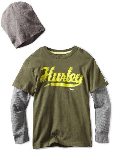 Hurley Big Boys' Throwback Slider With Beanie