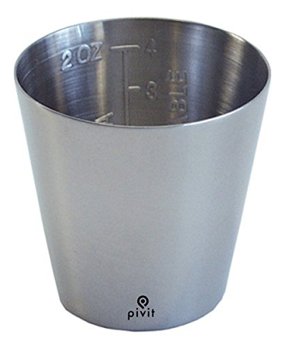 Pivit Graduated Stainless Steel Medicine Cup, 2 oz 2'' x 1-3/4'' | Protects & Prevents Bacteria Growth Against Defects | Measures Accurate Dosage Easy-to-Read Graduations in oz Or CC by pivit