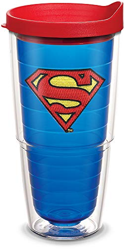 Tervis 1084021 Superman Tumbler with Emblem and Red Lid 24oz, Blue