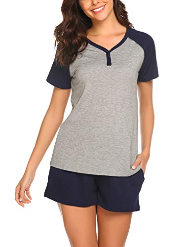 Ladies 2 Piece Pj - Ekouaer Women's Cute 2 Piece Tee and Shorts Pajama Set Loose Fit Sleepwear Navy Blue L