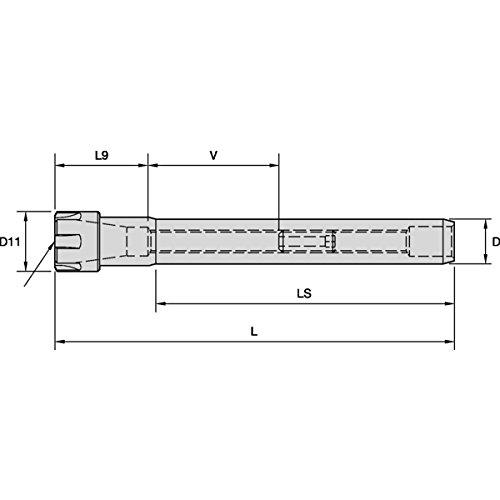 Erickson SS200ER16182M ER Tool holder, ER Collet Chuck, ER16 Series, 20mm Shank Diameter, 182mm Length
