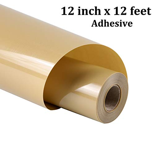 guangyintong Adhesive Heat Transfer Vinyl for T-Shirts 12 x 12ft Roll Glossy (K8 Solid Glod)