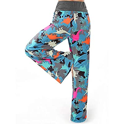 Redacel Womens Pajama Bottoms Comfy Palazzo Lounge Pants Loose Dinosaur Printde Spleepwear with Elastic Drawstring at  Women's Clothing store