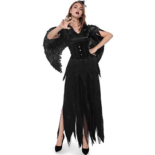 Halloween Vampire Dark Angel Costume,Adult Women Halloween Costume, Fancy Dress Costumes Halloween Witch Dress, Legends of Evil, Carnival Skirt, Hat, Feather, Top, Waist Vest, ()
