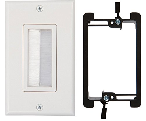 Buyer's Point Brush Wall Plate, with Single Gang Low Voltage Mounting Bracket Device (White Kit)