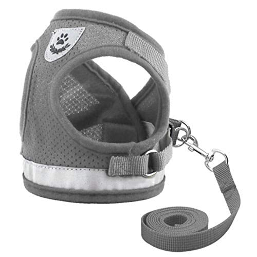 Jeakmo Pet Cat Small Dog Adjustable Reflective Outdoor Walking Harness with Lead Leash Vest Harnesses Puppy Collar Clothes Kitten Basic Leashes Size L (Grey)